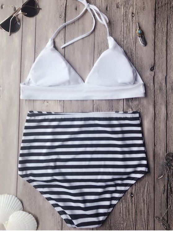Soft Pad High Waisted Halter Bikini Set - WHITE L Mobile