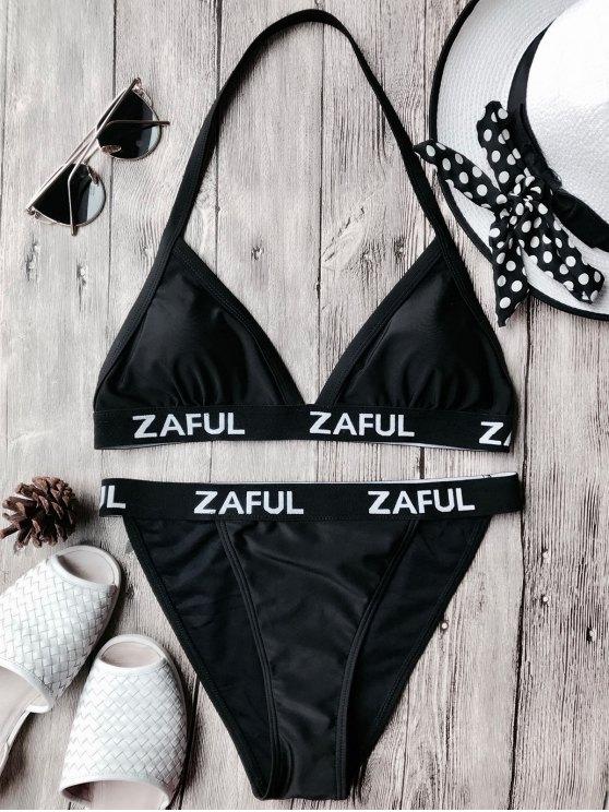 women Halter Logo Band Thong Bikini Set - BLACK S