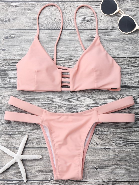 latest Lattice Banded Bralette Bathing Suit - PINK S