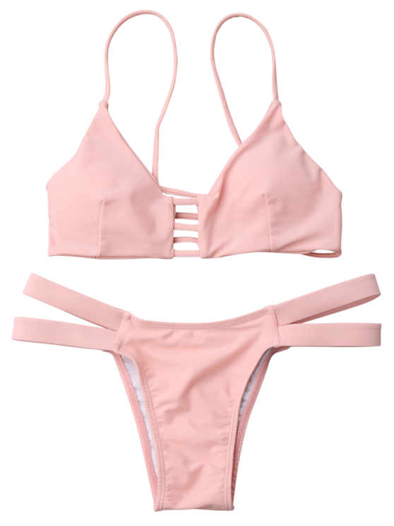 Lattice Banded Bralette Bathing Suit - PINK S Mobile