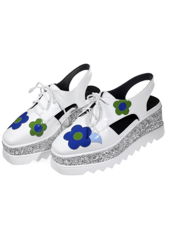 Flowers Sequins Square Toe Platform Shoes - WHITE 37 Mobile