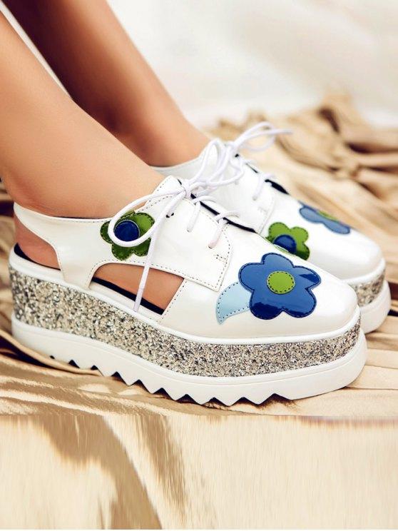 Flowers Sequins Square Toe Platform Shoes - WHITE 38 Mobile