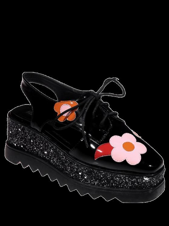 hot Flowers Sequins Square Toe Platform Shoes - BLACK 39