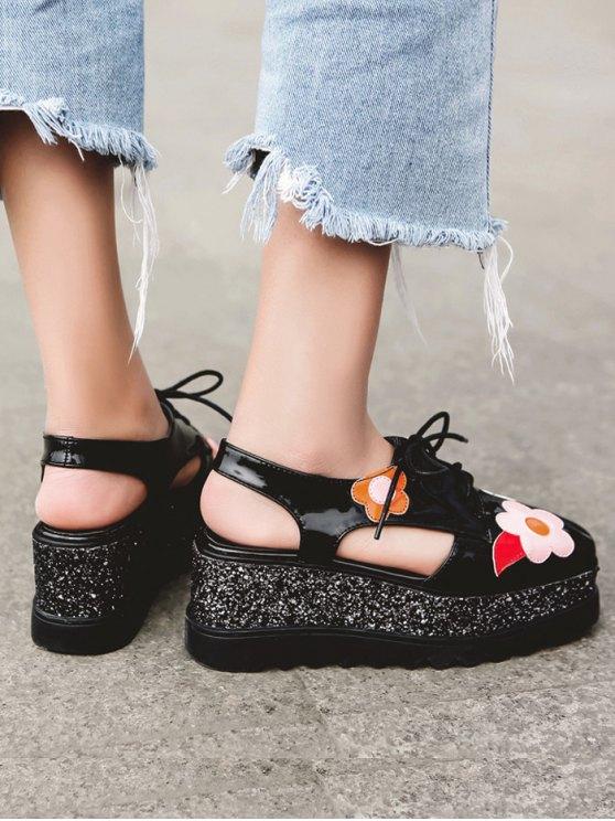 Flowers Sequins Square Toe Platform Shoes - BLACK 37 Mobile