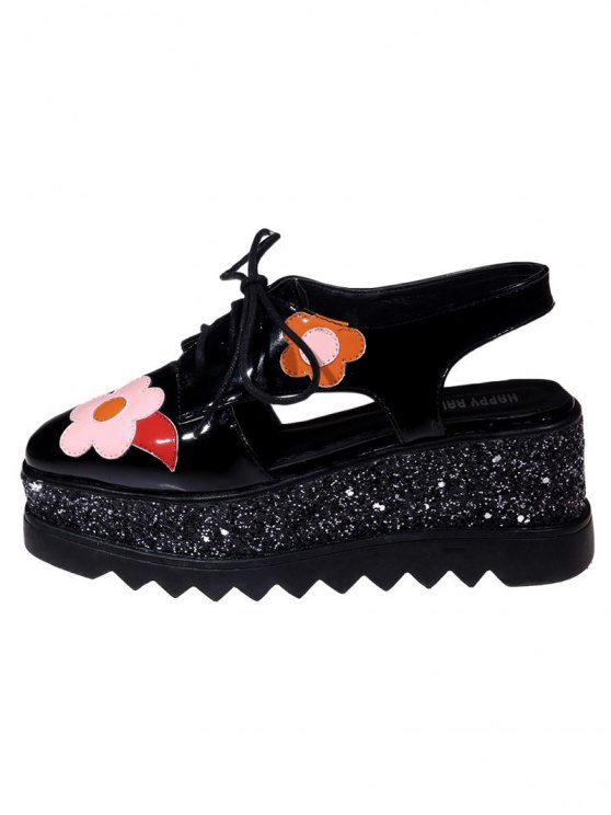 Flowers Sequins Square Toe Platform Shoes - BLACK 38 Mobile