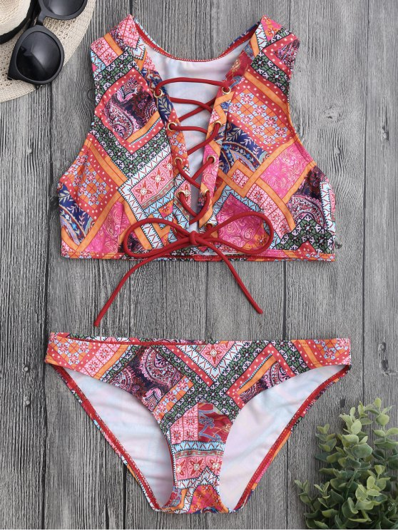 womens Lace Up Paisley Printed Bikini Set - COLORMIX M