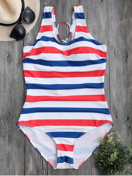 new Striped Back Lace Up Swimwear - STRIPE L