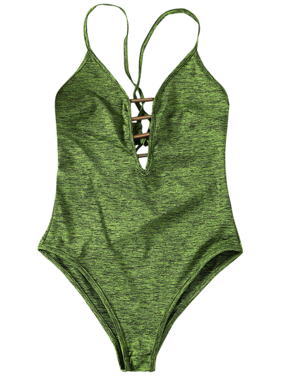 Lace Up Plunge Neck Monokini - ARMY GREEN M Mobile
