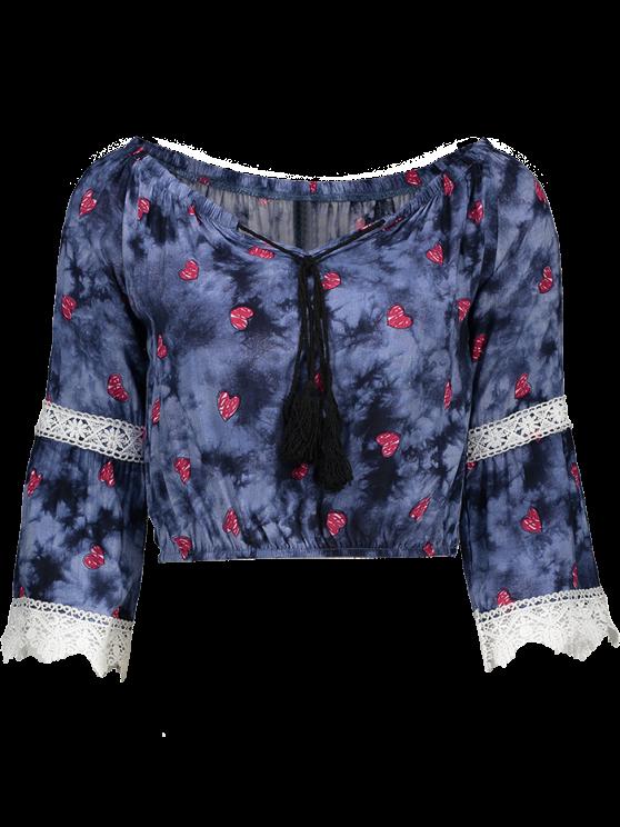 Off Shoulder Tie Dyed Blouse - PURPLISH BLUE M Mobile