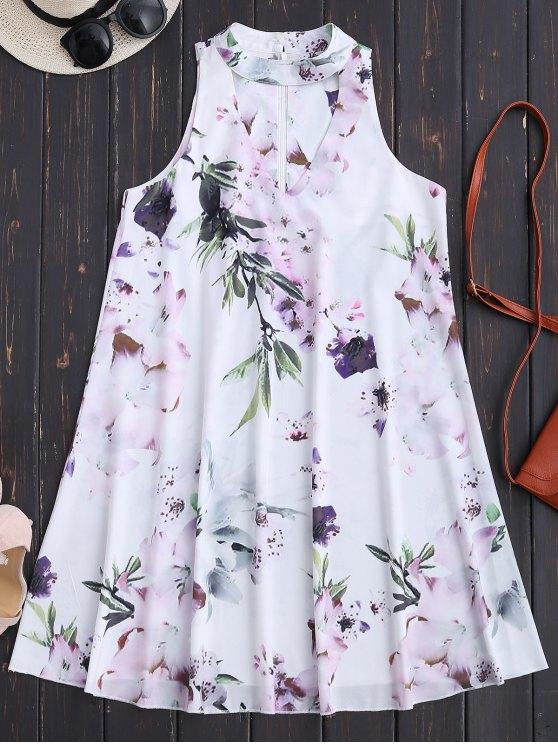 Sin mangas de flores florales vestido de vacaciones - Blanco M