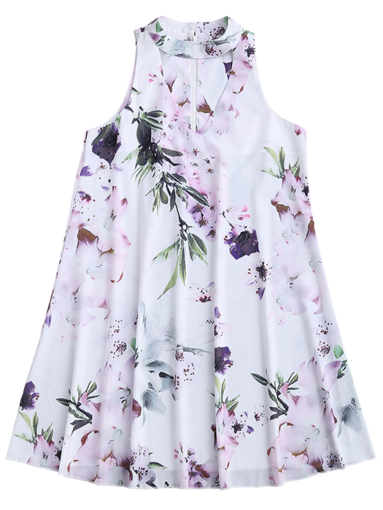 Sleeveless Floral Flowy Holiday Dress - WHITE M Mobile