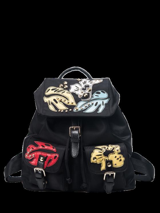 trendy Patches Rivet Nylon Backpack - BLACK
