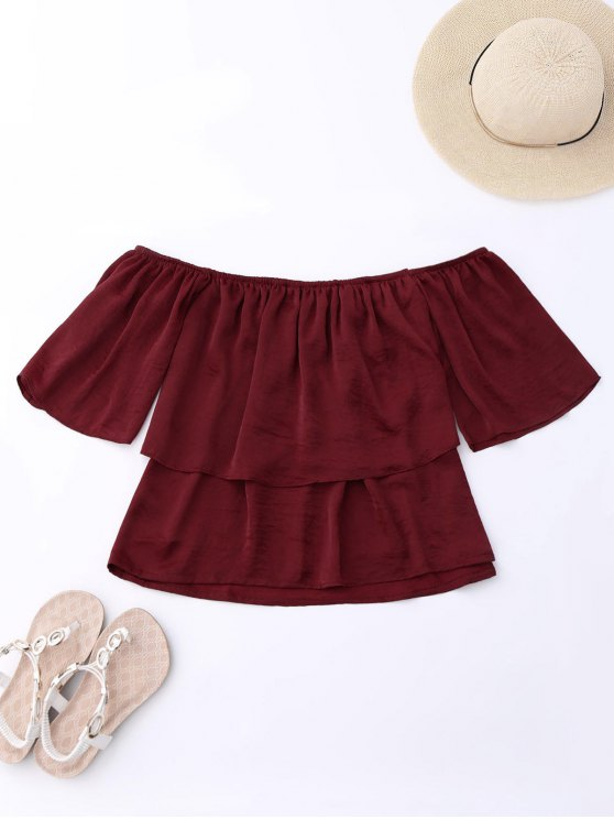 Off Shoulder Ruffle Top - WINE RED XL Mobile