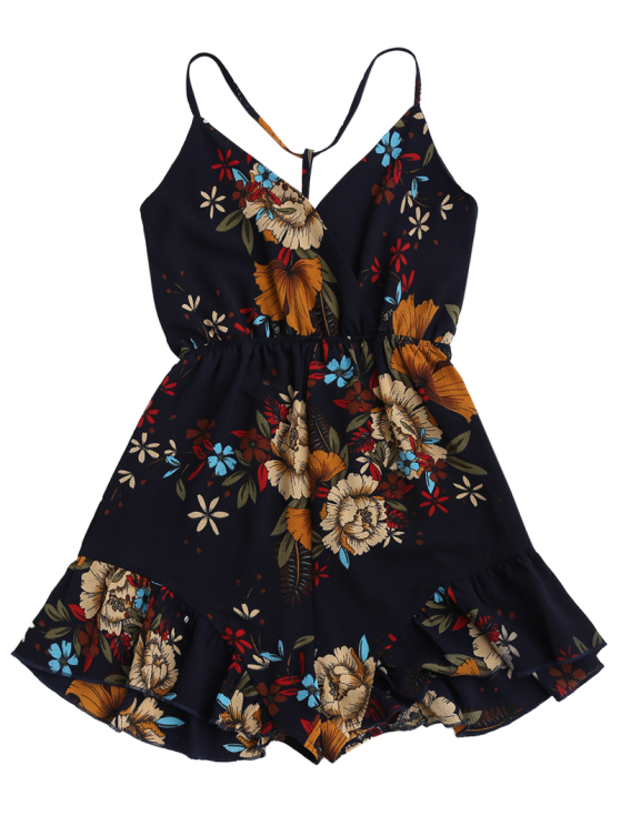 Spaghetti Straps Caged Floral Romper - PURPLISH BLUE S Mobile