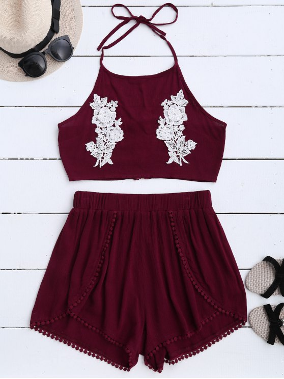 women's Lace Floral Halter Crop Top and Shorts - WINE RED S