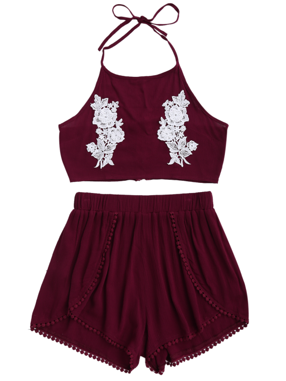 Lace Floral Halter Crop Top and Shorts - WINE RED S Mobile