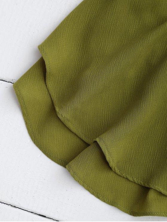 Halter Ruffle Chiffon Crop Top - GREEN L Mobile