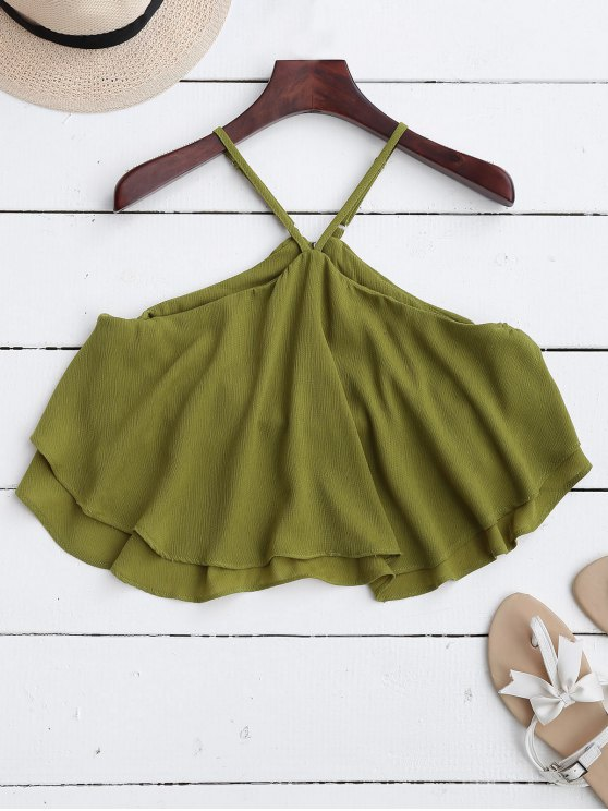 fancy Halter Ruffle Chiffon Crop Top - GREEN S