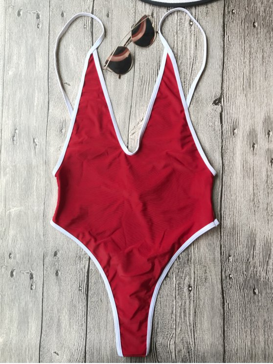 women Contrast Piping High Cut One Piece Swimsuit - RED S