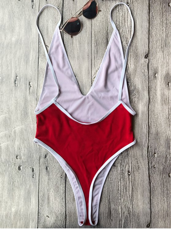 Contrast Piping High Cut One Piece Swimsuit - RED S Mobile