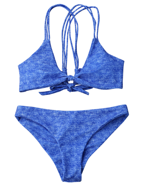 Front Knot Strappy Bikini Set - BLUE M Mobile