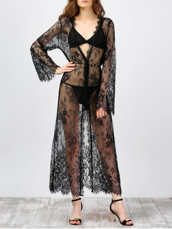 lady Sheer Lace Long Kimono Cover-Ups - BLACK M