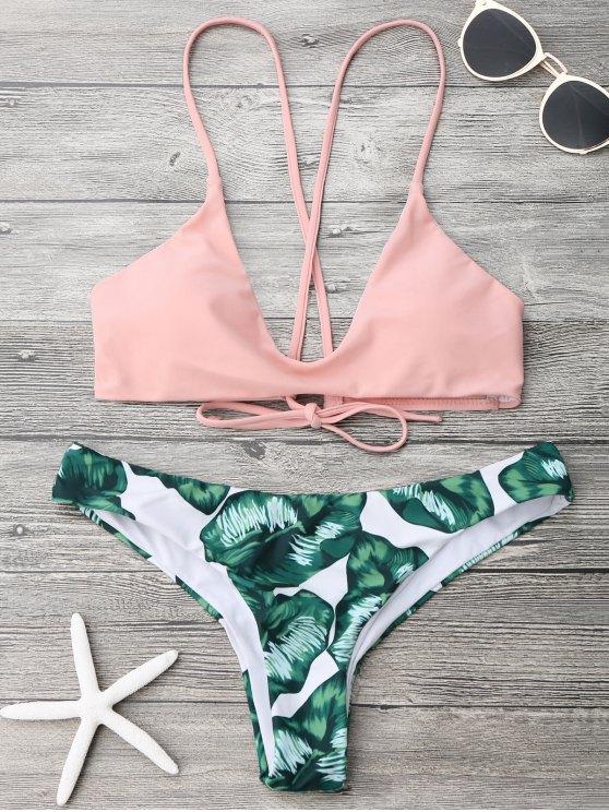new Palm Leaf Cami Bralette Bikini Set - PINK AND GREEN L