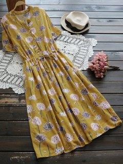 Flower Buttoned Drawstring Waist Shirt Dress - Ginger