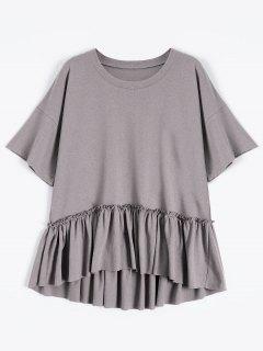 Short Sleeve Ruffle Hem T-Shirt - Smashing