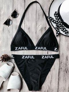 Halter Logo Band Thong Bikini Set - Black L