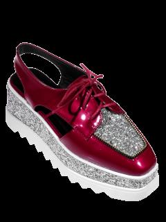 Square Toe Lace Up Sequins Platform Shoes - Deep Red 38