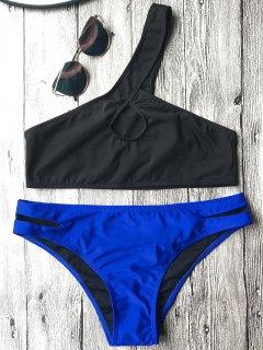 One Shoulder Cutout Bathing Suit - Blue And Black M