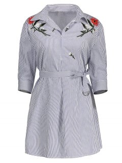 Floral Embroidered Striped Dress With Belt - White