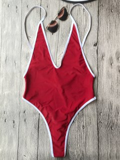 Contrast Piping High Cut One Piece Swimsuit - Red M