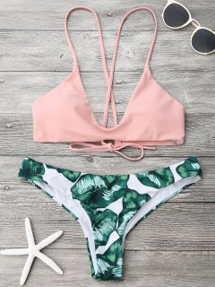 Ensemble De Bikini à Bretelle Imprimé Feuille De Palmier - Rose Et Vert Xl
