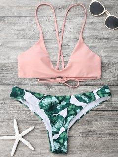 Palm Leaf Cami Bralette Bikini Set - Pink And Green S