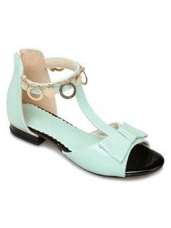 T Strap Metal Ring Sandals - Light Green 38