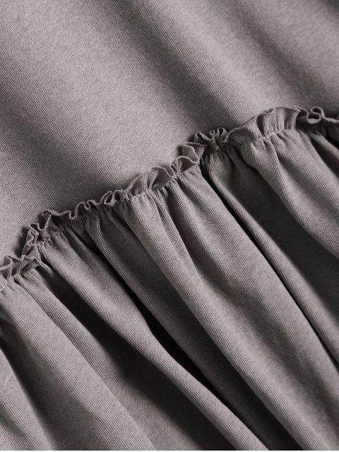 latest Short Sleeve Ruffle Hem T-Shirt - SMASHING ONE SIZE Mobile