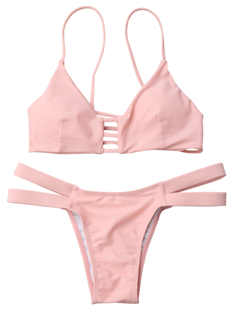 latest Lattice Banded Bralette Bathing Suit - PINK S Mobile