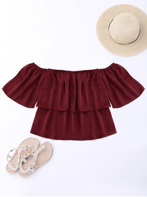 women Off Shoulder Ruffle Top - WINE RED XL Mobile