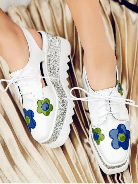 new Flowers Sequins Square Toe Platform Shoes - WHITE 38 Mobile