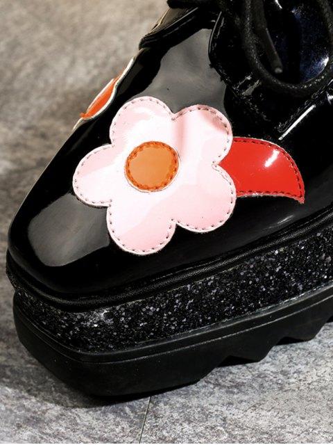 outfits Flowers Sequins Square Toe Platform Shoes - BLACK 38 Mobile