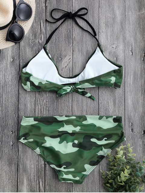 hot Back Tied Halter Camouflage Bikini Set - CAMOUFLAGE XL Mobile
