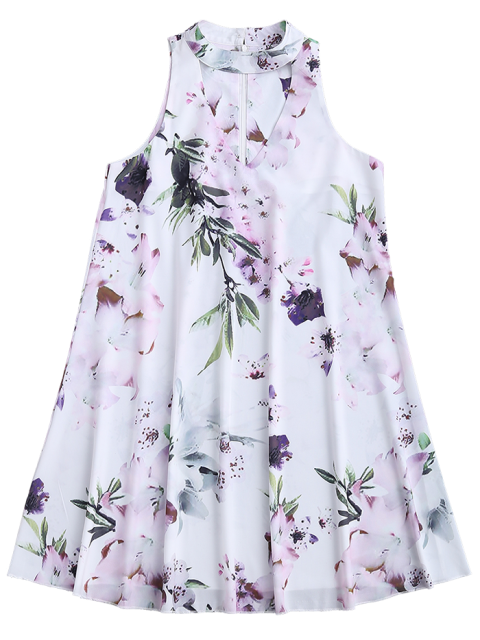 unique Sleeveless Floral Flowy Holiday Dress - WHITE S Mobile