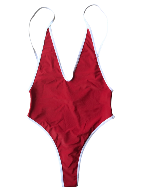 women Contrast Piping High Cut One Piece Swimsuit - RED S Mobile