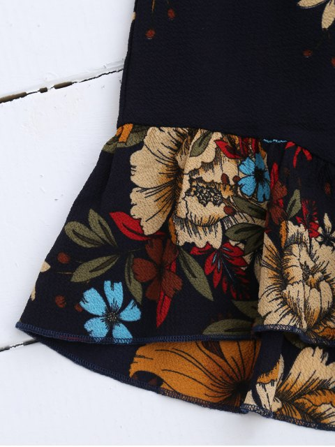 outfit Spaghetti Straps Caged Floral Romper - PURPLISH BLUE M Mobile