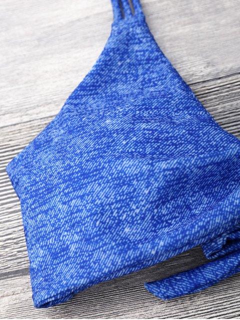 fashion Front Knot Strappy Bikini Set - BLUE M Mobile