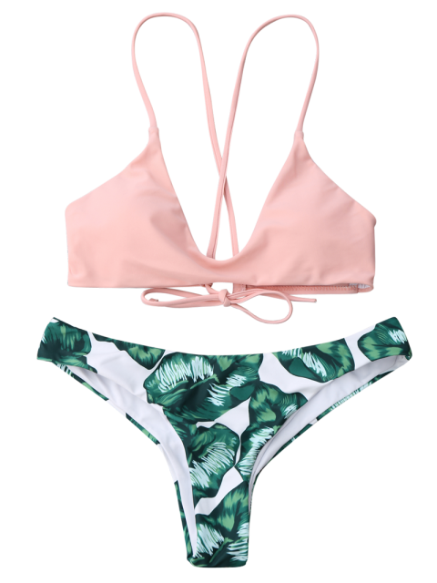 hot Palm Leaf Cami Bralette Bikini Set - PINK AND GREEN M Mobile