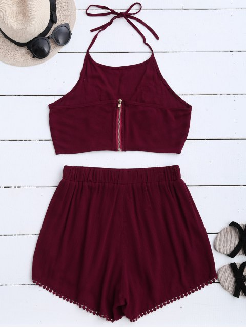 ladies Lace Floral Halter Crop Top and Shorts - WINE RED M Mobile