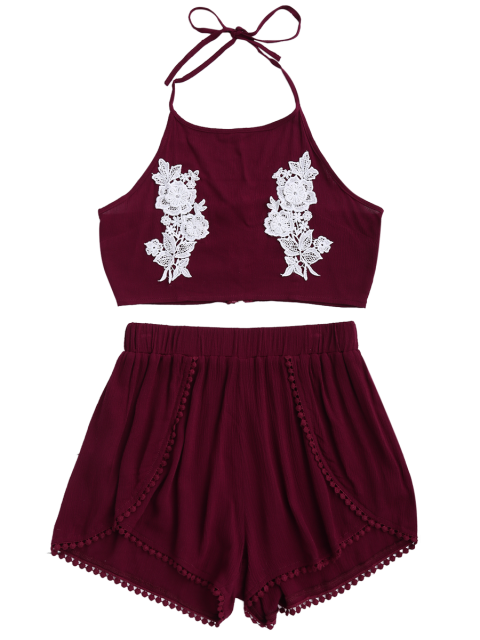 lady Lace Floral Halter Crop Top and Shorts - WINE RED L Mobile